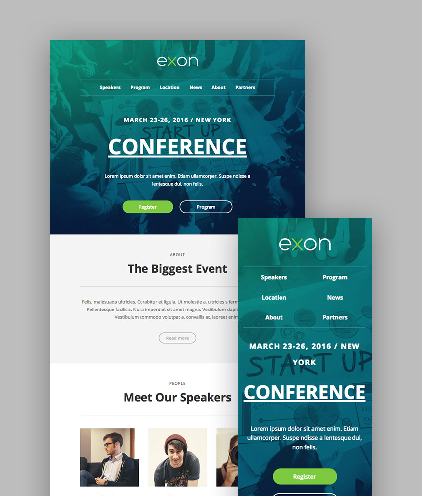 exon responsive email newsletter template