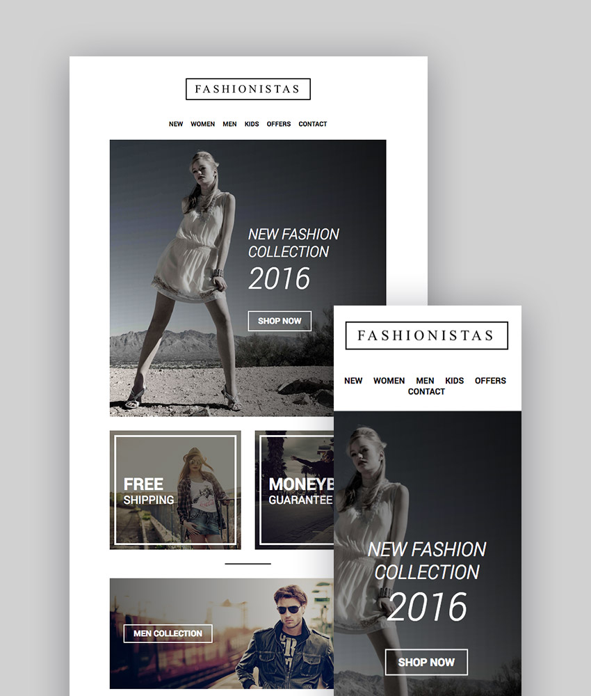 Fashion Ecommerce-reactive Email with Mailchimp Editor StampReady Builder