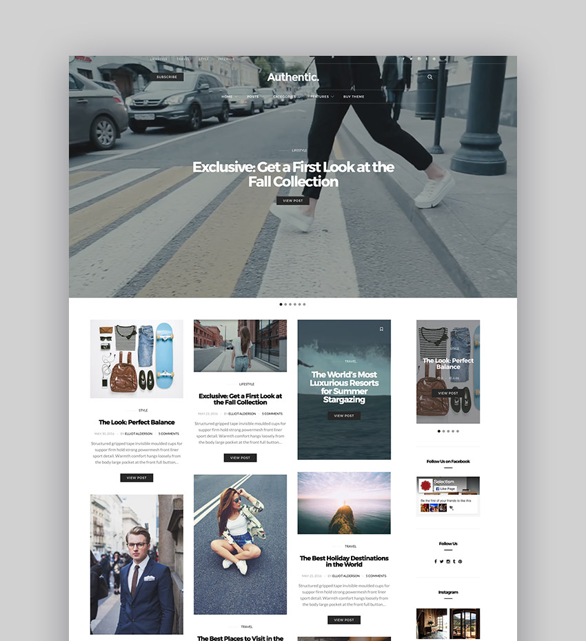 Authentic - Lifestyle Blog Magazine WordPress Theme