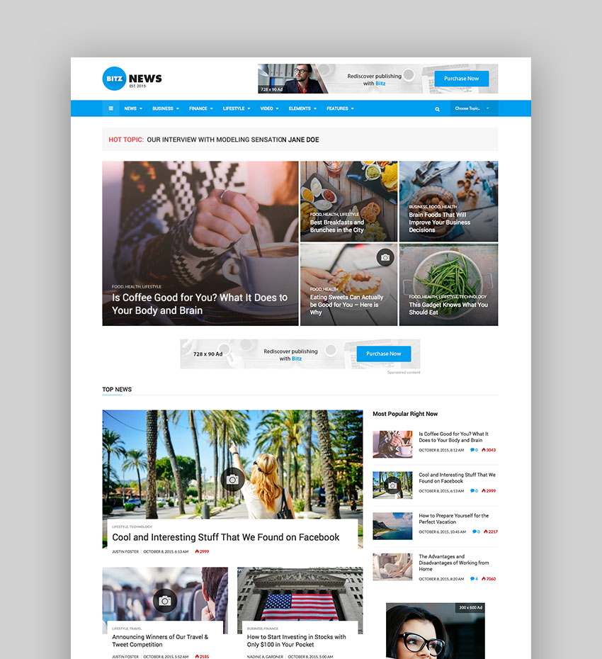 Bitz - News  Publishing WP Theme