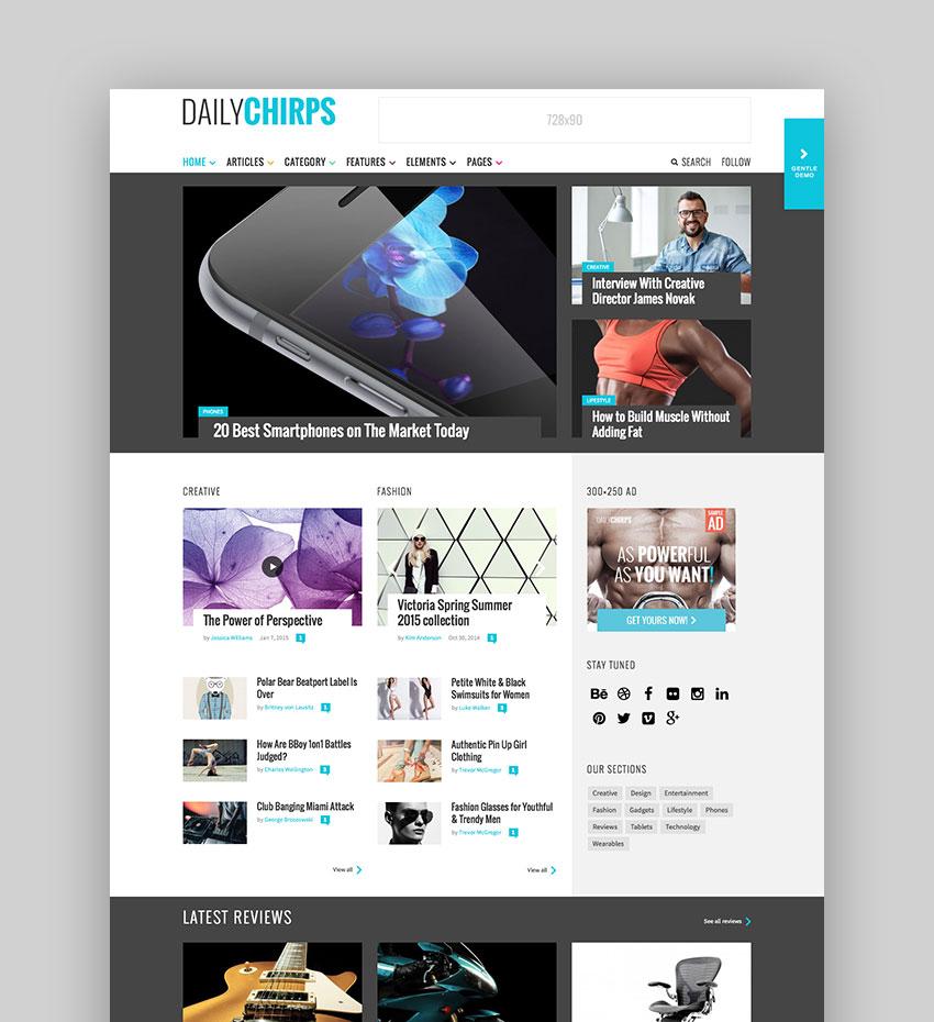 roundup-website-template-chirps 23 Super WordPress Magazine Themes Definitely Worth Buying