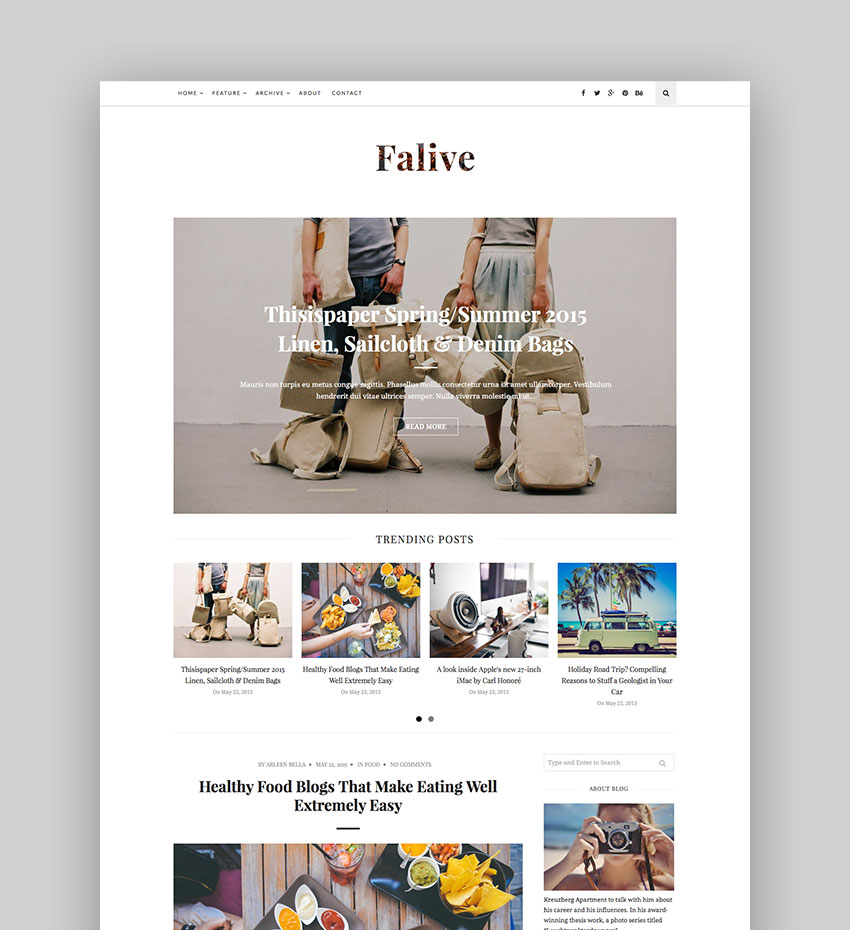 Falive - Beautiful Creative Fashion Blog Theme