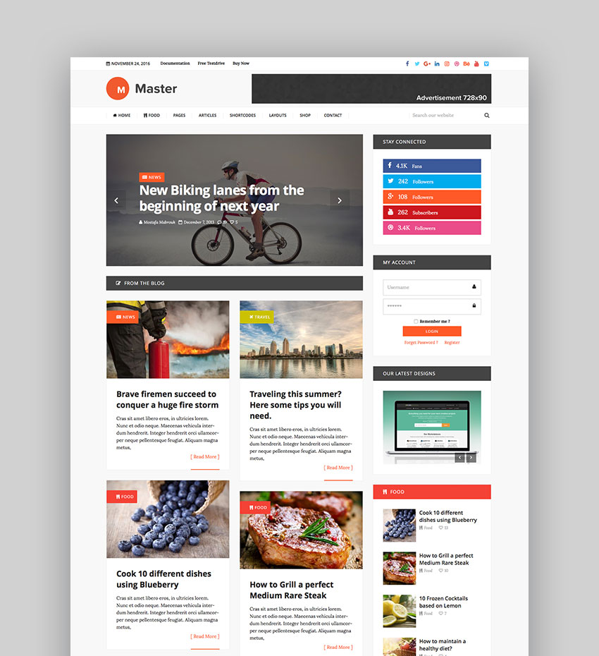 Master - Premium Blog Magazine WordPress Theme