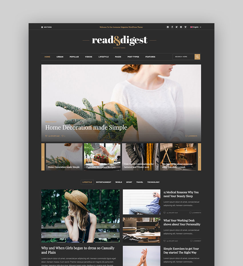 Read Digest Theme - for Magazines Newspapers Blogs