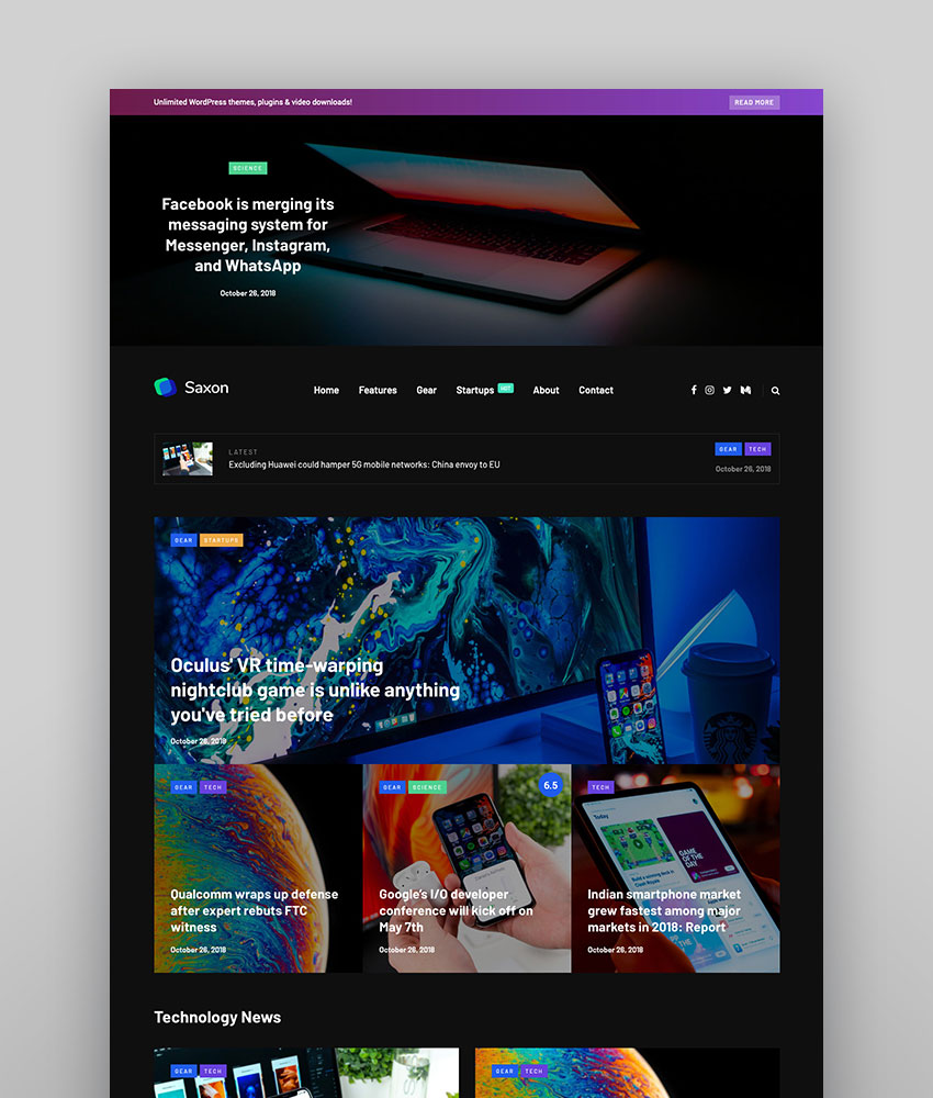 Saxon - Viral Content Blog  Magazine Marketing WordPress Theme dark