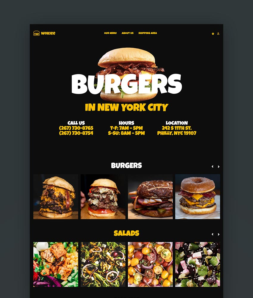 Wokiee - Multipurpose Shopify Theme New York burger joint skin