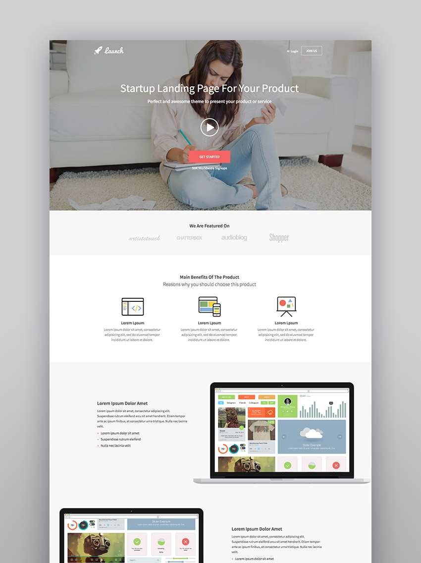 Launch - Startup Landing Page Bootstrap WP Theme