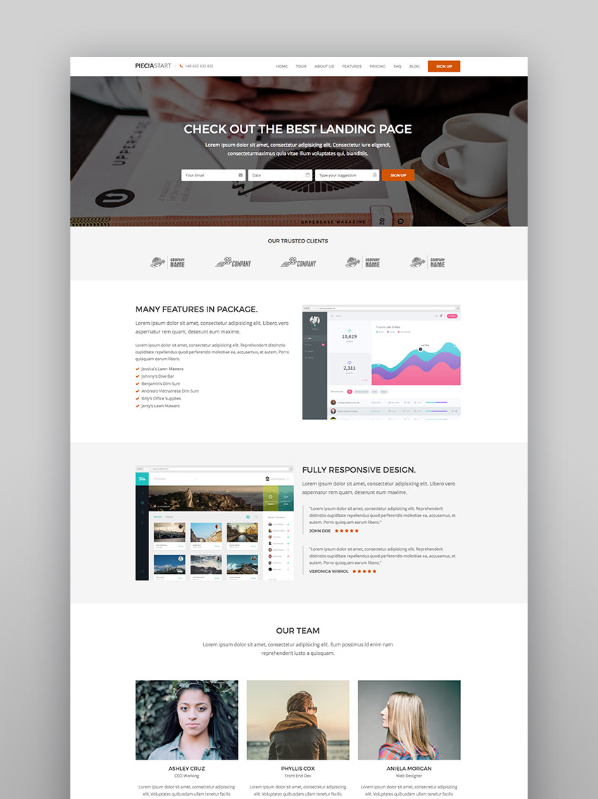 Piecia - One Page WordPress Landing Page