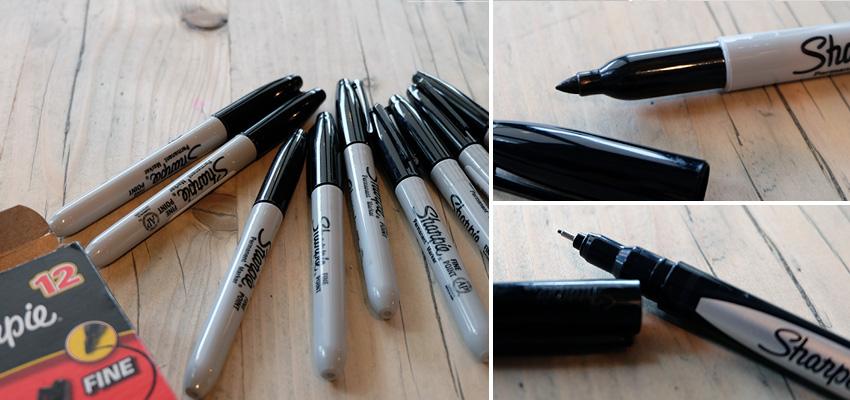 Sharpie pen and the Sakura Micron