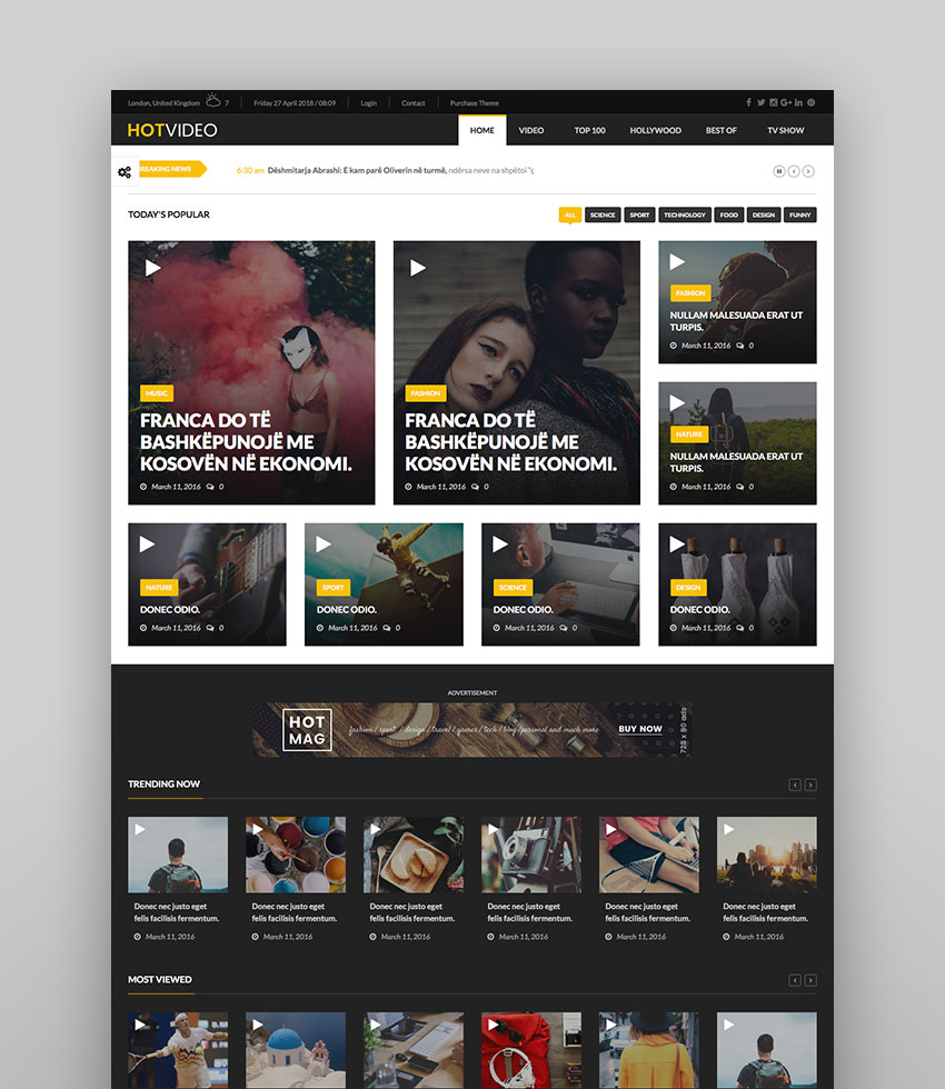 HotMagazine - Magazine WordPress Theme