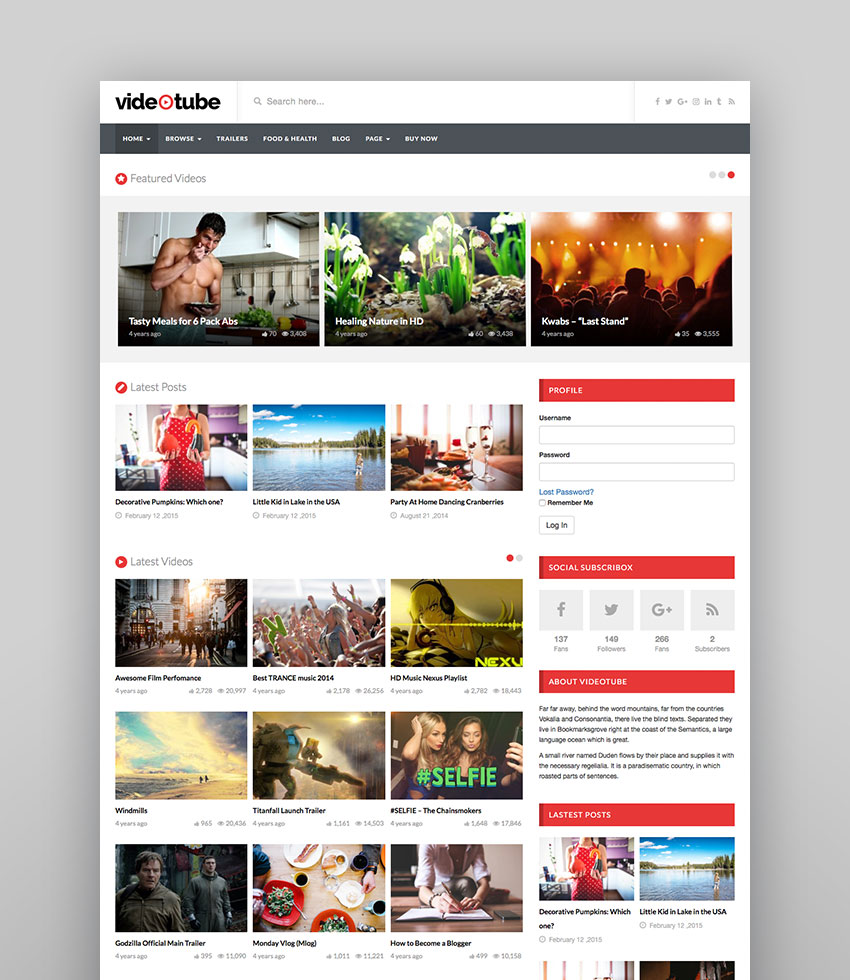 Videotube - Video WordPress Theme