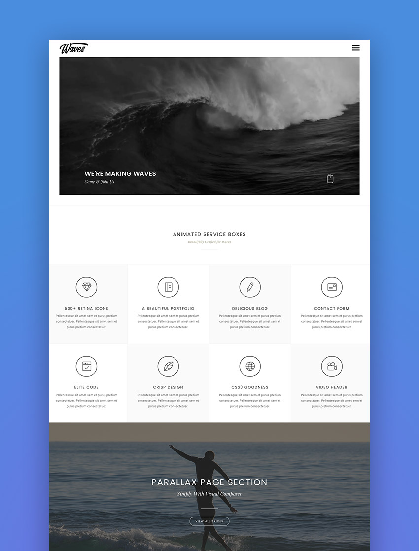 Waves - Fullscreen Video One-Page WordPress Theme