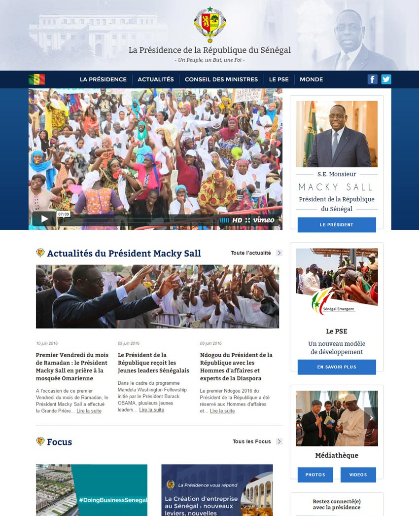 Republic of Senegal official website wwwpresidencesn