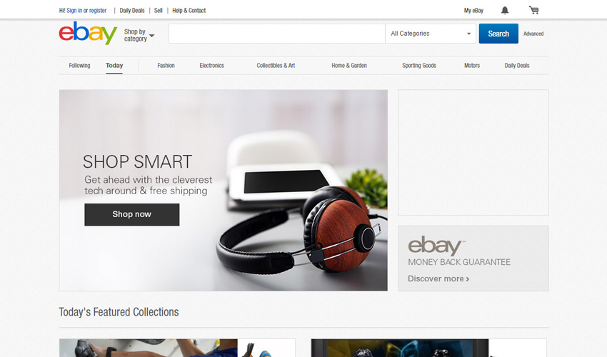 eBay user interface