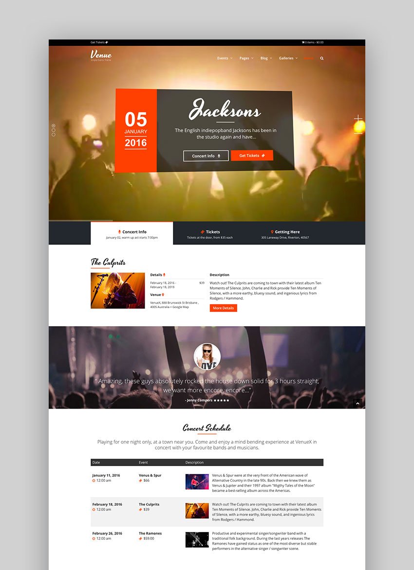 Venue X - Simple Events WordPress Theme