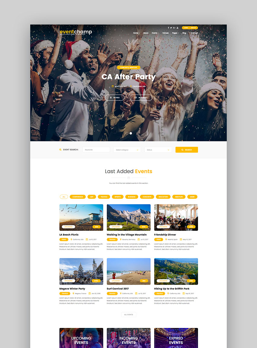 Event Champ  Multiple Events  Conference WordPress Theme