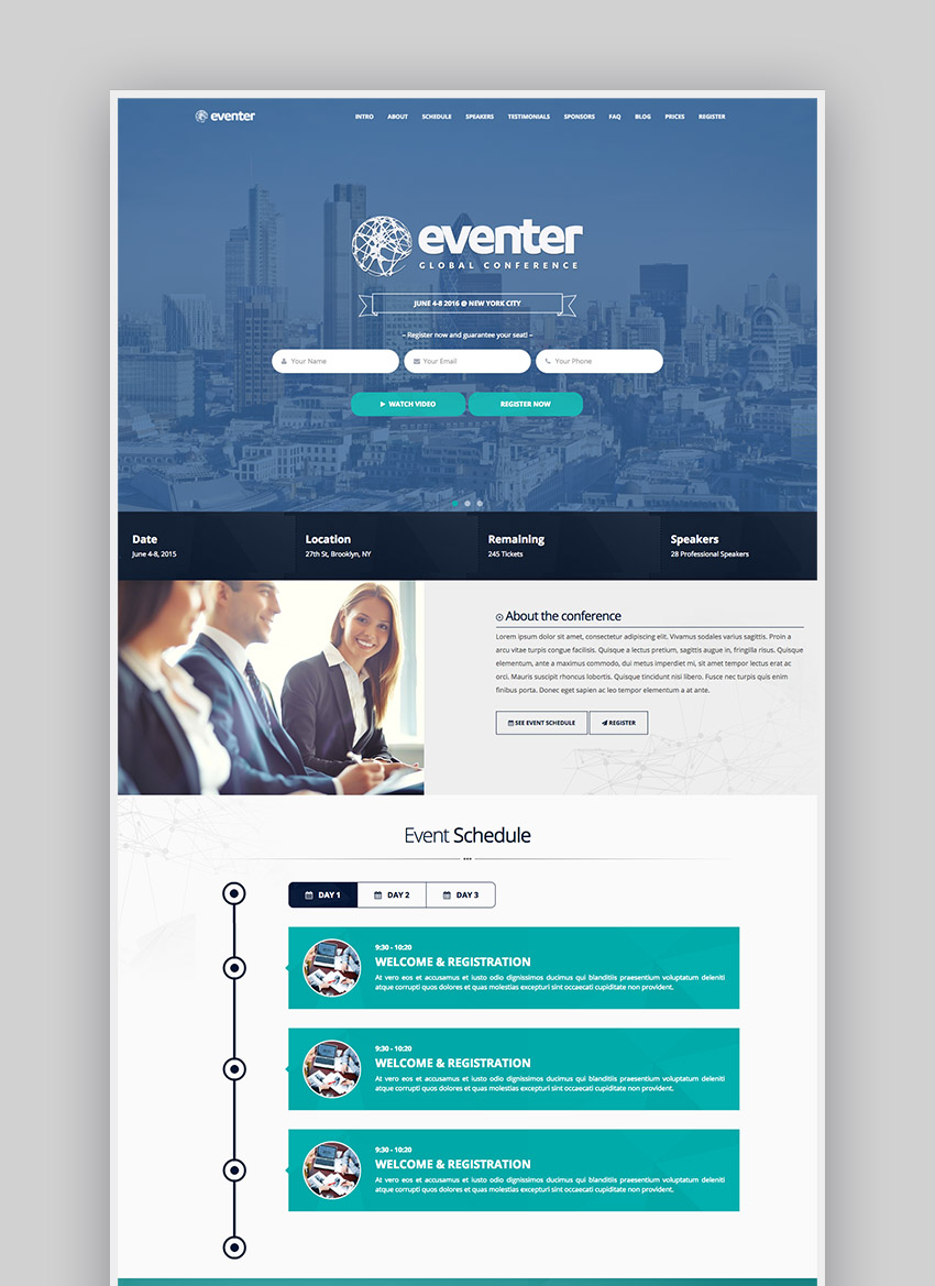 15 best wordpress event themes for conferences and more eventer wordpress event and conference theme pronofoot35fo Image collections