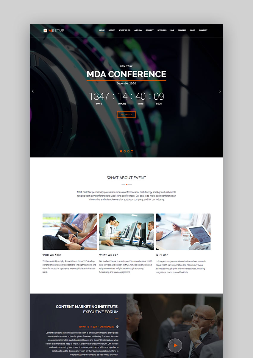 15 best wordpress event themes for conferences and more meetup wordpress conference event theme pronofoot35fo Image collections