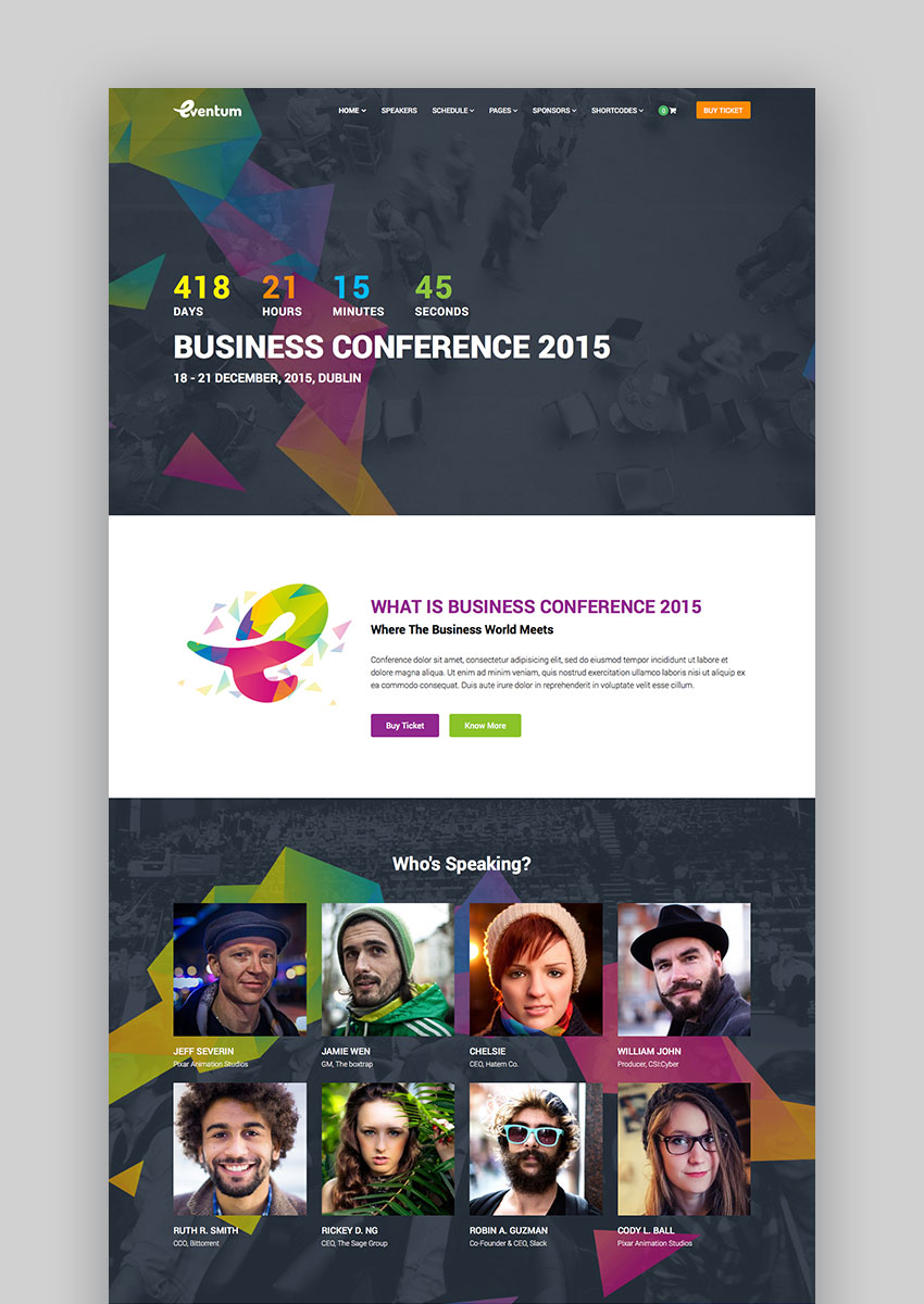 Eventum - Conference  Event WordPress Theme