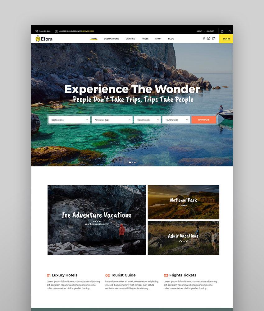 Efora - Travel Business Directory Theme for WordPress