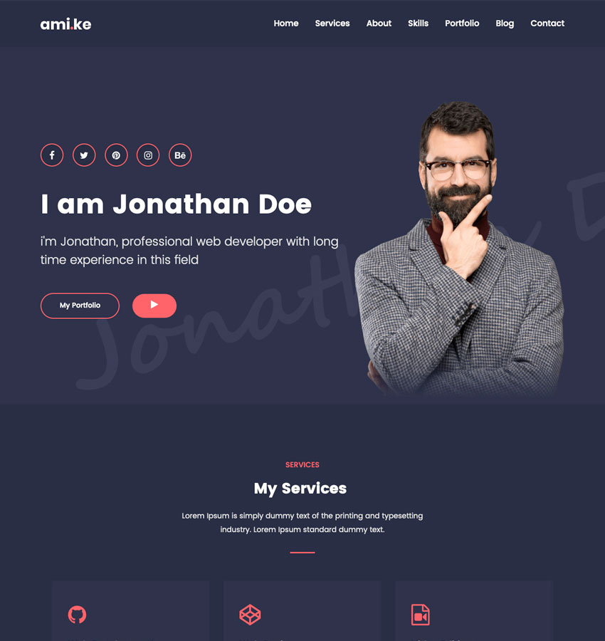 Amike - Personal Portfolio WordPress Theme