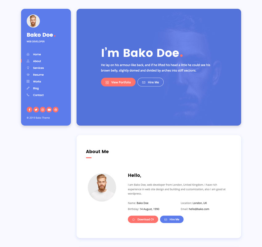 Bako - Personal Portfolio  Resume WordPress Theme