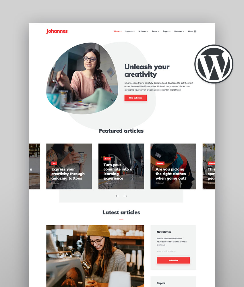 Johannes - Multi-concept Personal Blog  Magazine WordPress theme