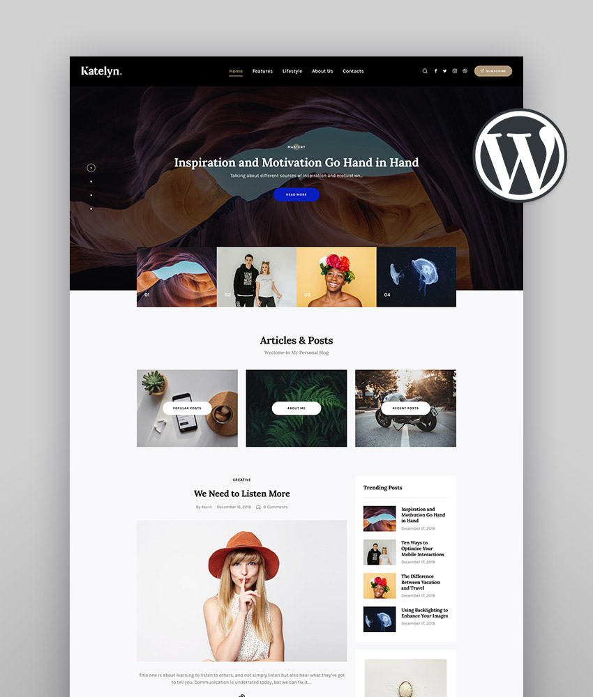 Katelyn  Creative Gutenberg Blog WordPress Theme