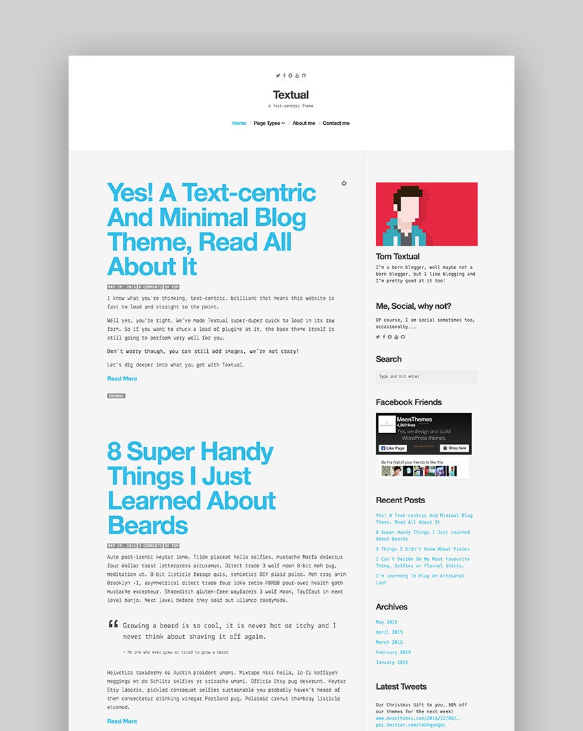 Textual - A Text-Centric WordPress Blog Theme