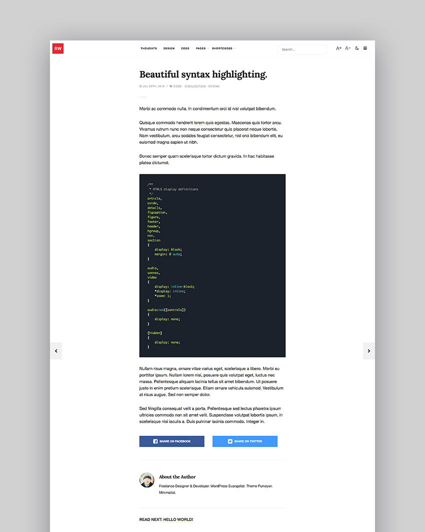 ReadWrite - Beautifully Minimal Writing Blogging WordPress Theme