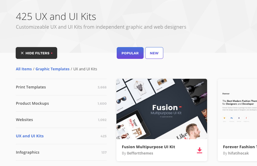 UI kits on Envato Elements