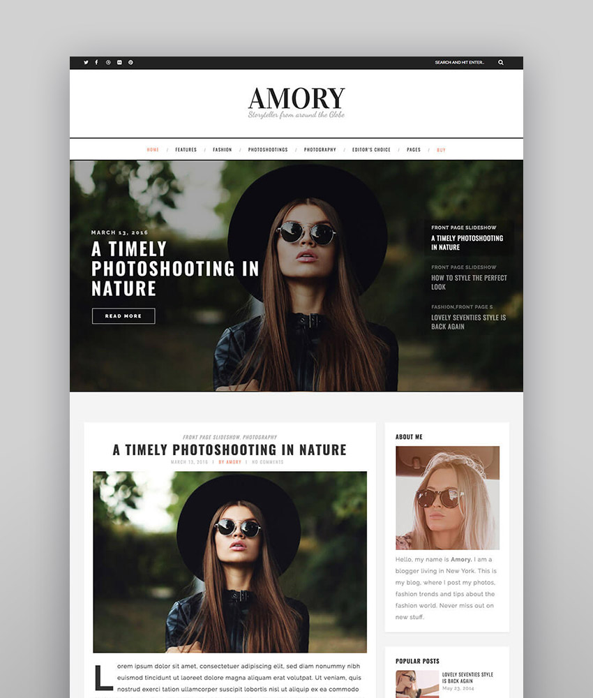 Amory Blog - Responsive WordPress Theme for Personal Blogs