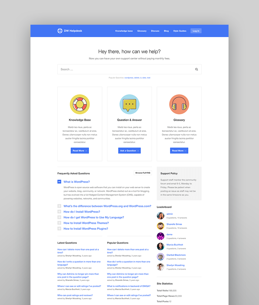 DWHelpdesk - Complete Helpdesk Knowledge-Base Theme