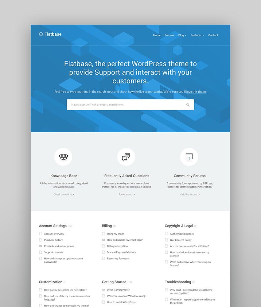 Flatbase - Easy to Manage Knowledge-Base WP Theme
