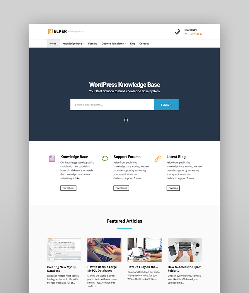 Helper - Sleek  Modern Knowledge-Base WordPress Theme