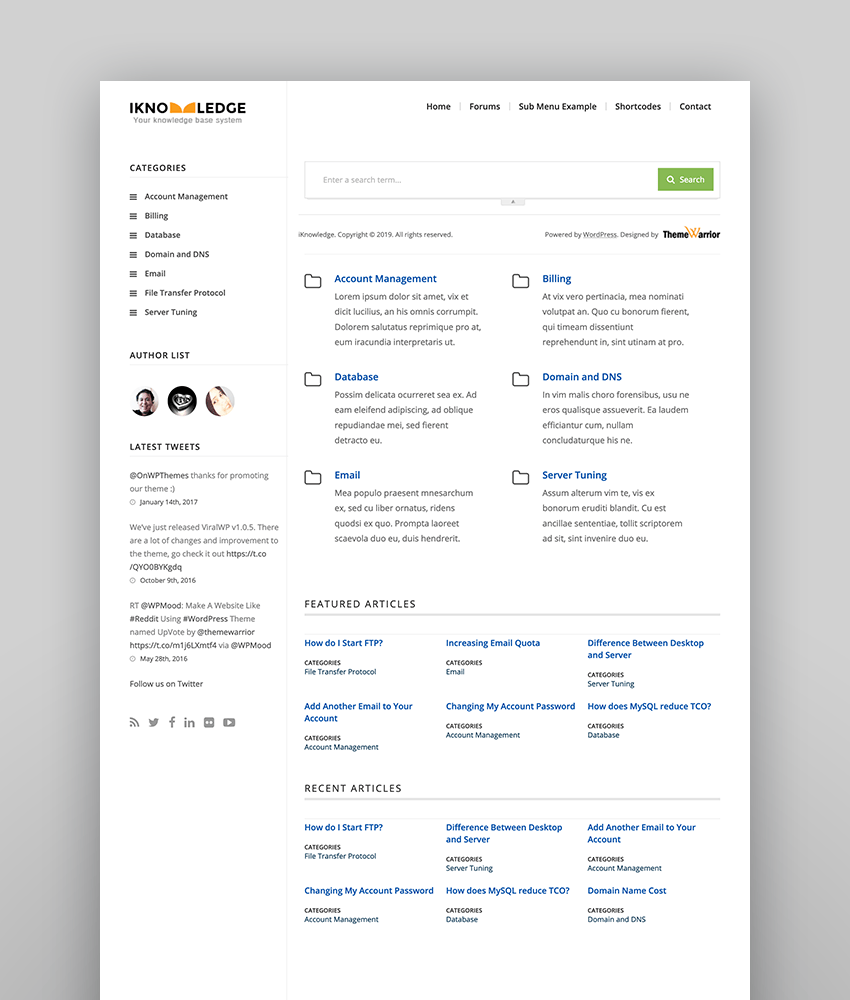 iKnowledge - Fresh Content-Focused Knowledge-Base Theme
