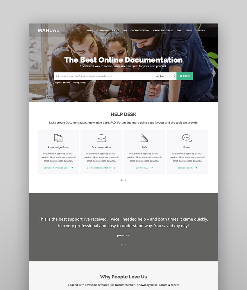 Manual - Versatile Online Documentation  Helpdesk Theme