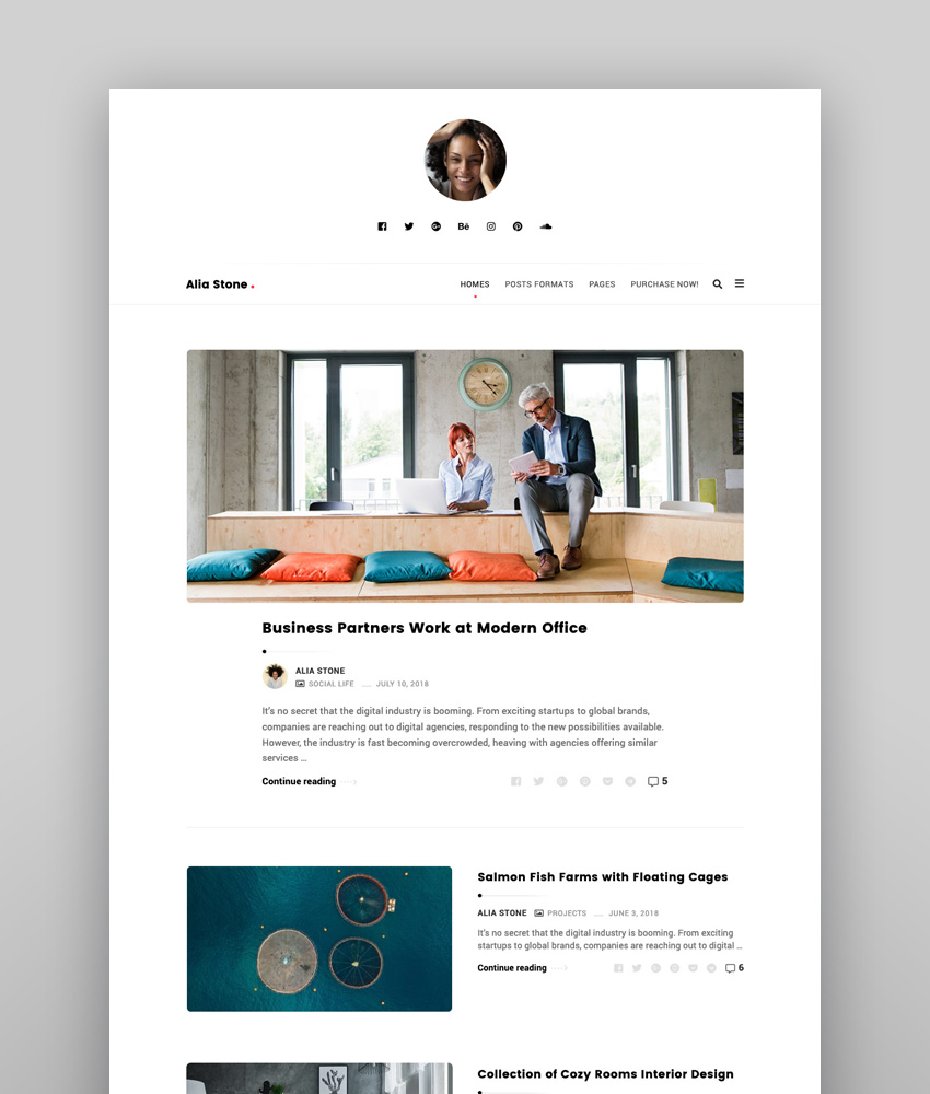 Alia - Minimal Personal Blog Inspiration Responsive WordPress Theme