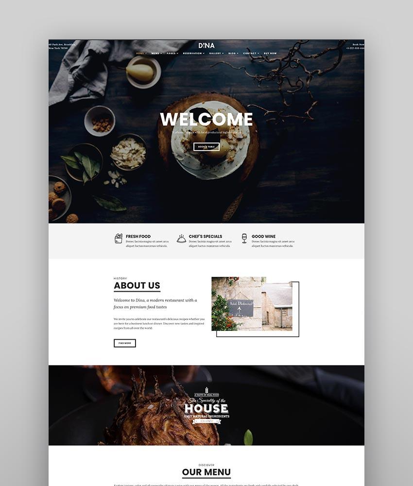 Dina - Restaurant Bar Cafe Food WordPress Theme