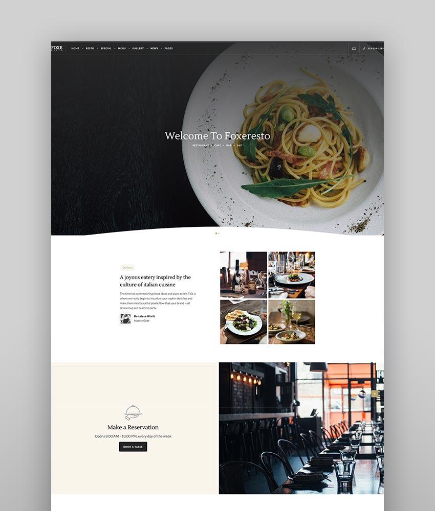Foxeresto - Restaurant WordPress Theme