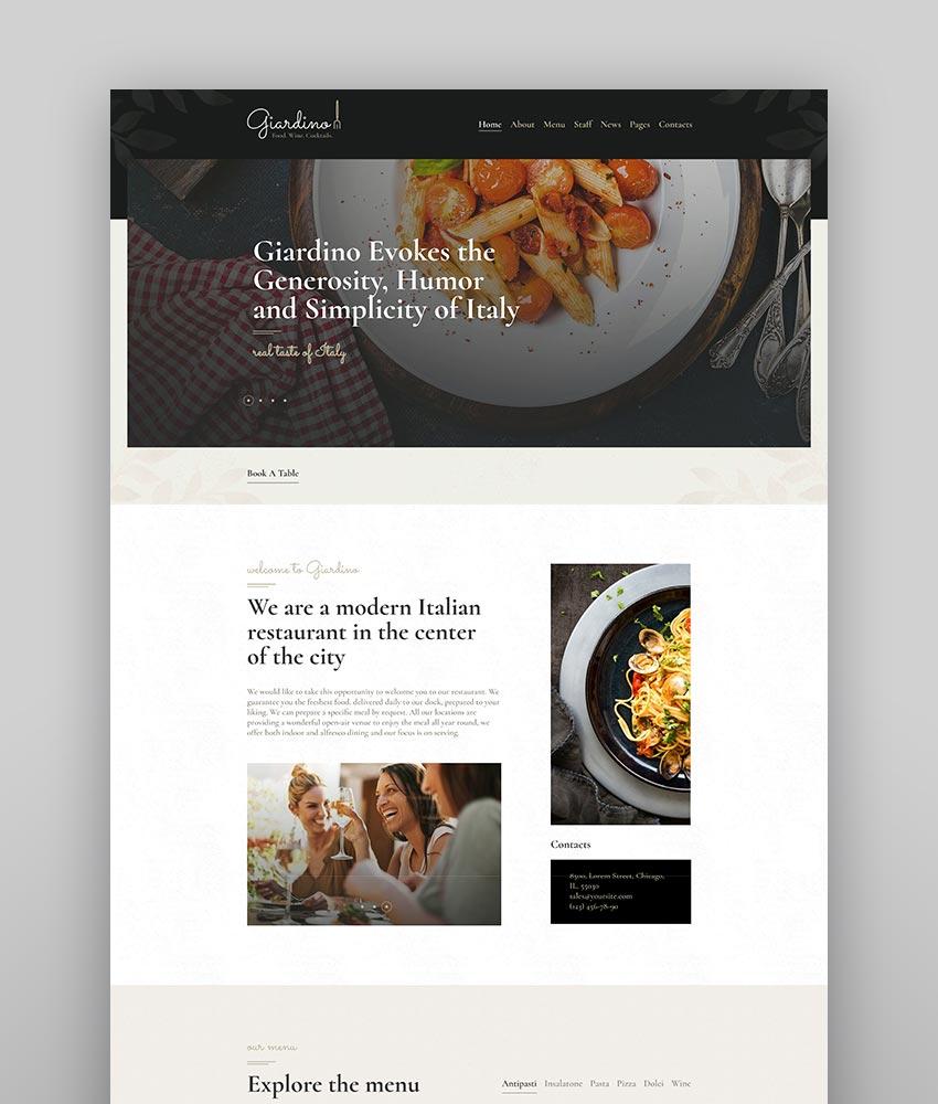 Giardino  An Italian Restaurant  Cafe WordPress Theme