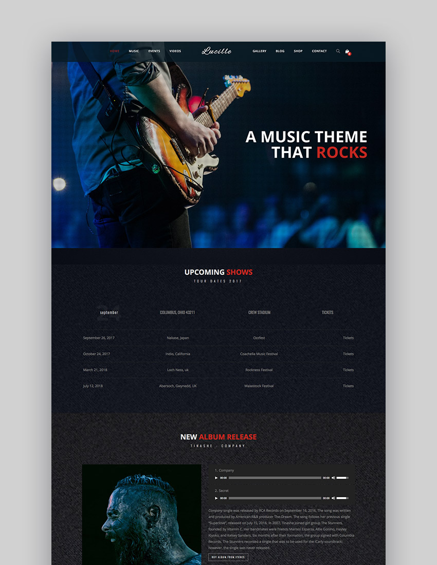 Lucille - Music WordPress Theme