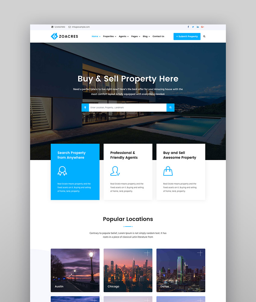 Zoacres - Real Estate WordPress Theme