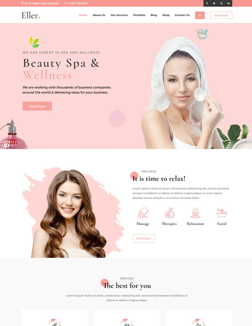 Eller - Elegant Spa  Wellness WordPress Theme