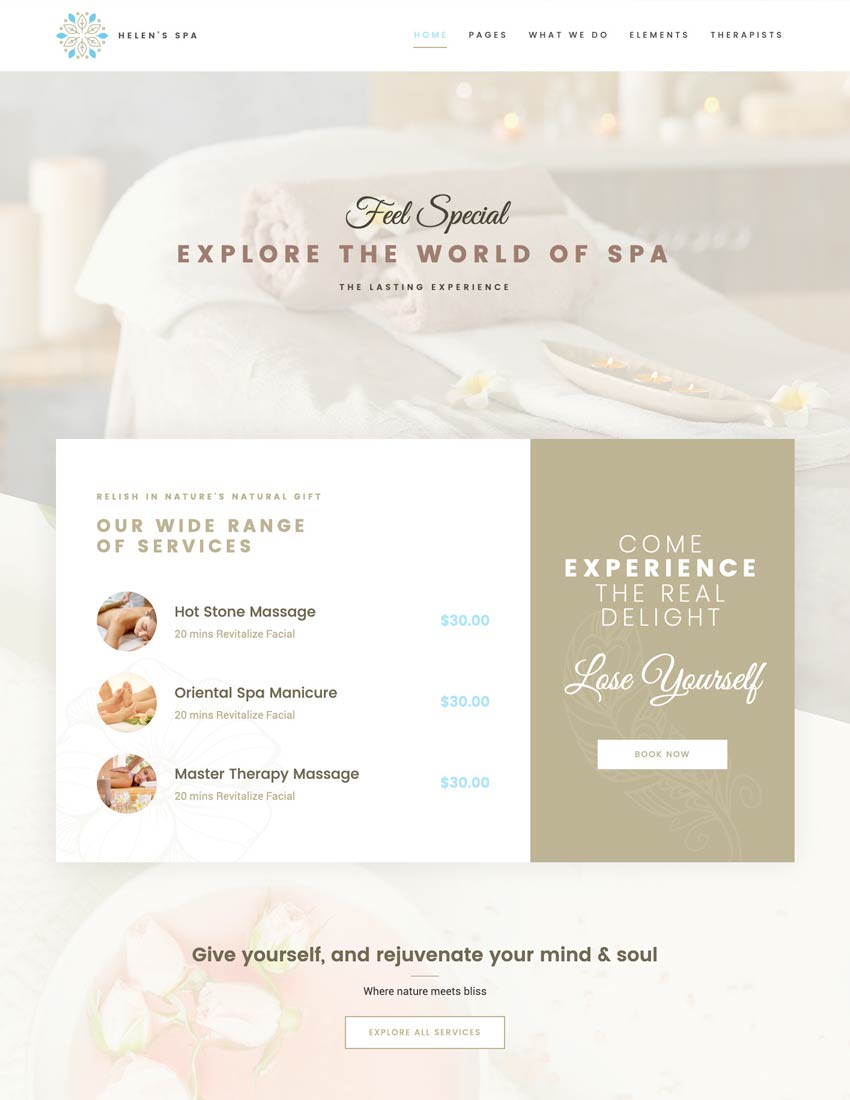 Helen Spa - Beauty  Wellness Theme