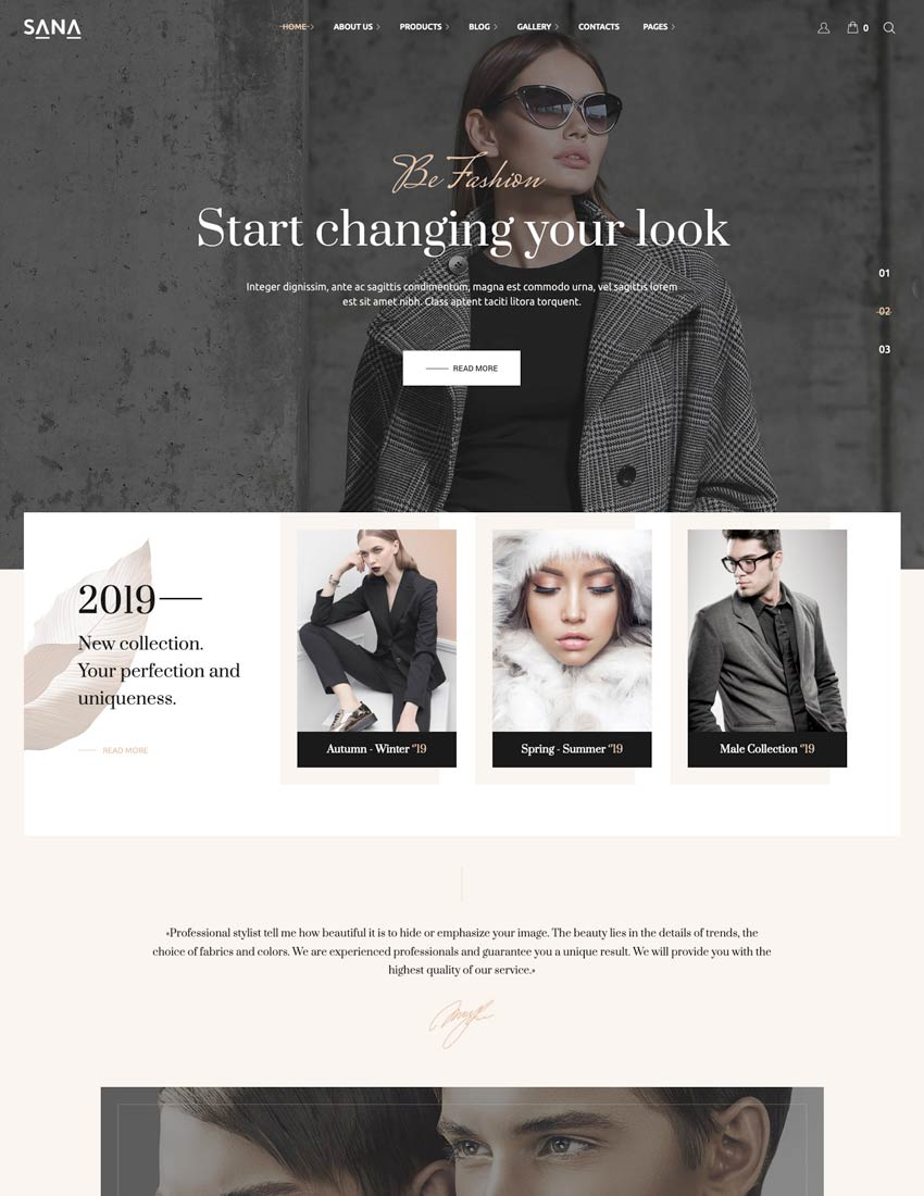 Sana - Fashion Stylist Beauty Salon and Makeup Artist WordPress Theme