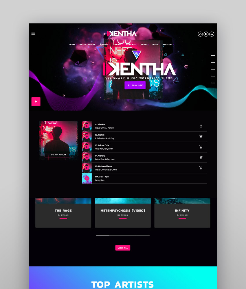 Kentha  Visionary Music WordPress Theme