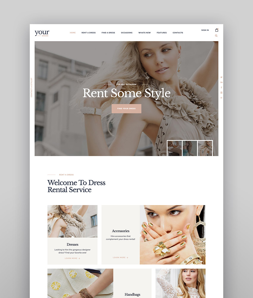 Your Dress  Clothes Rental Services WordPress Theme