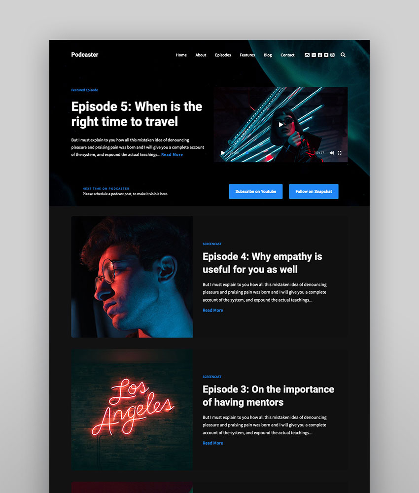 Podcaster Multimedia WordPress Theme dark