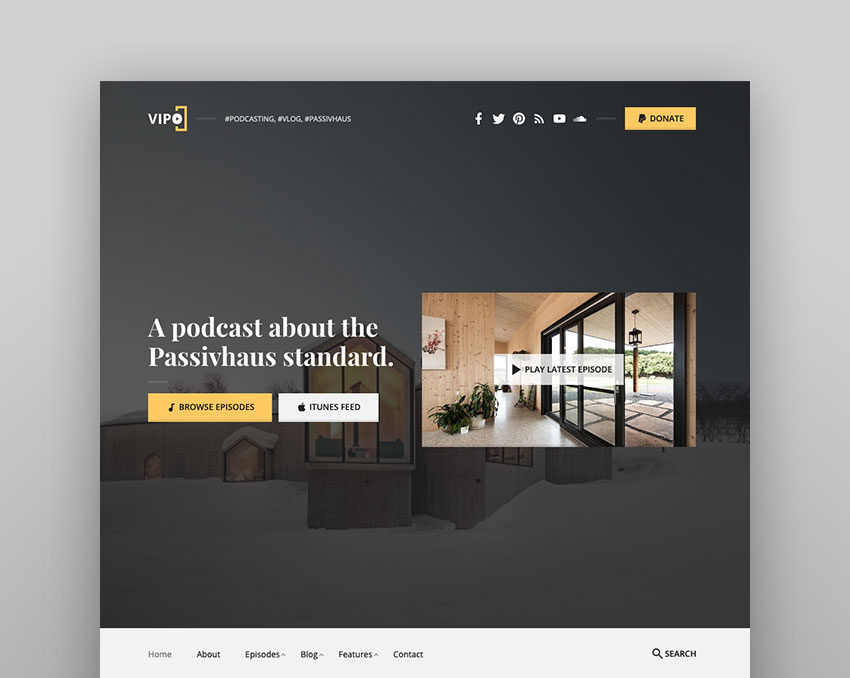 Vipo - Audio  Video Podcast  Vlog WordPress Theme